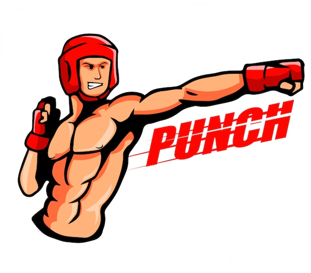 Illustration of a boxer throw a punch.