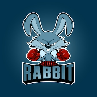 Illustration boxing rabbit mascot logo with cartoon style. vector