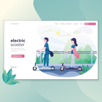 Illustration boy and girl riding electric scooter together