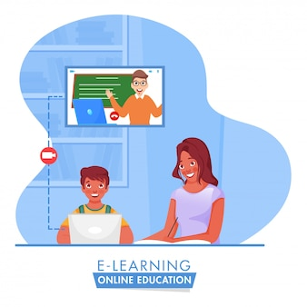 Illustration of boy having online education from laptop near young girl writing in book for stop coronavirus.