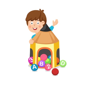 Illustration of a boy playing bingo lottery game balls