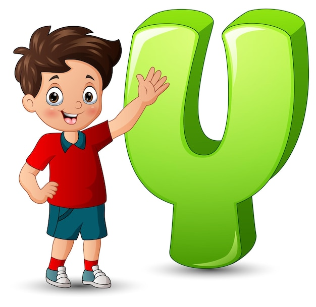 Illustration of a boy posing beside a letter y