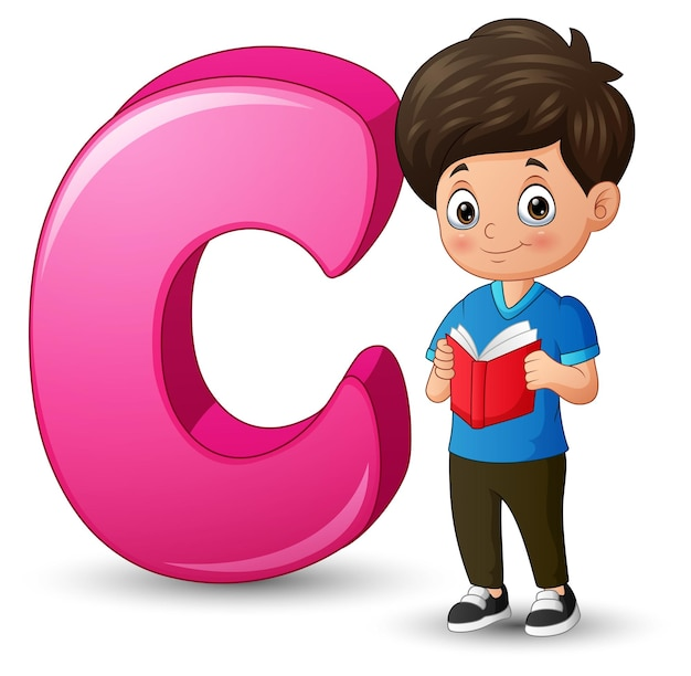 Illustration of a boy reading book beside letter c