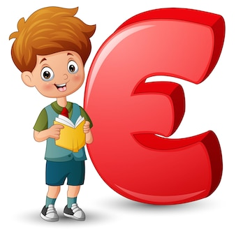 Illustration of a boy reading book beside letter e