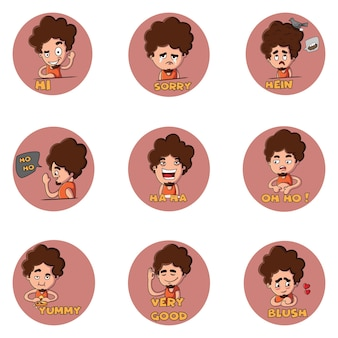 Illustration of boy sticker set.