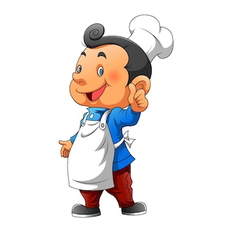 The illustration of the boy using the chef hat and white apron for the restaurant logo inspiration