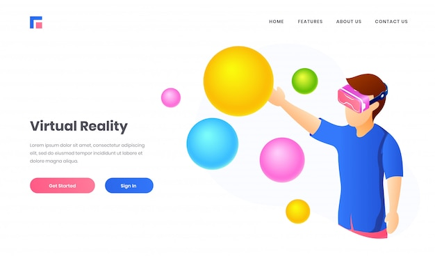 Illustration of boy wearing vr glasses watching colorful balls and bubble for virtual reality website landing page design.