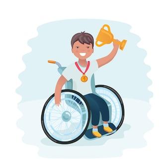 Illustration of a boy in wheelchair