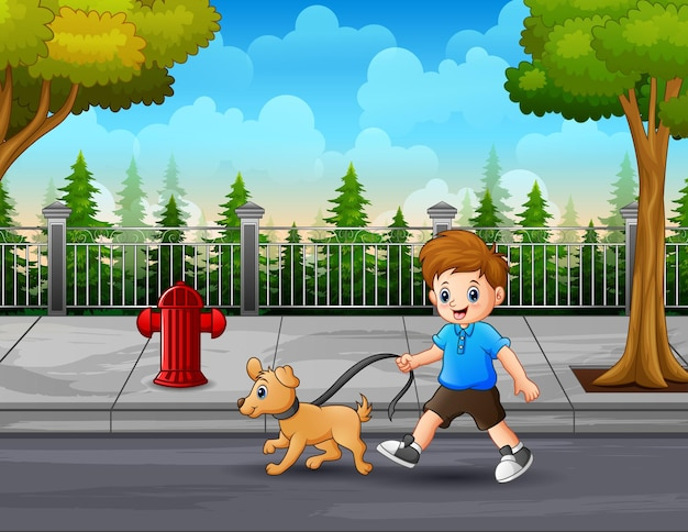 Illustration of a boy with a dog walking along the street