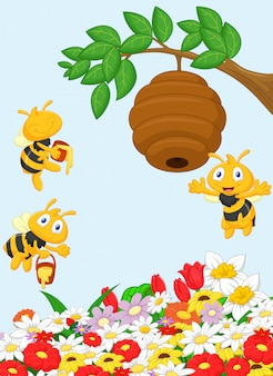 Illustration of a branch of a tree with a beehive and a bee