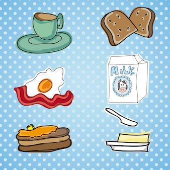Illustration of breakfast meal with breadbuttereggmi lk and bacon