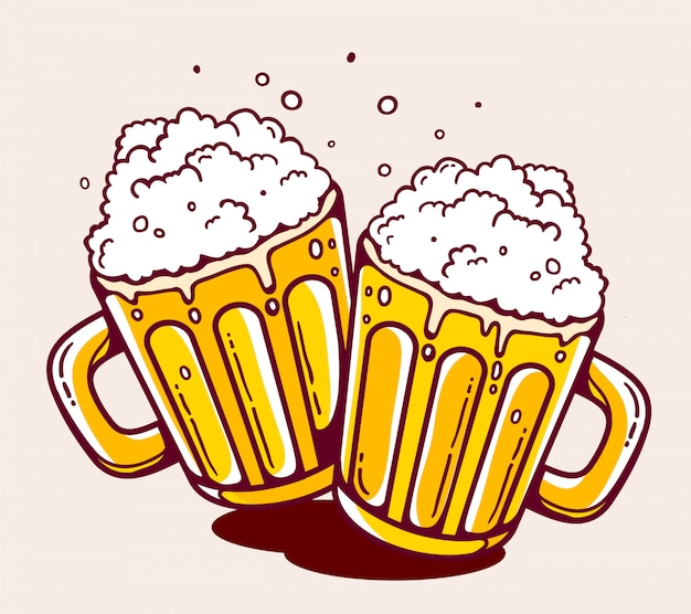 Illustration of bright two beer mugs on yellow background.