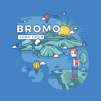 Illustration of bromo west java, indonesia landmark