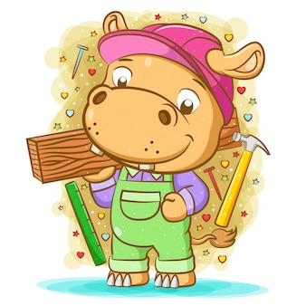 The illustration of the brown hippopotamus use the green overall and hold the wood
