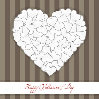 Illustration of brown postcard big heart made of small white hearts