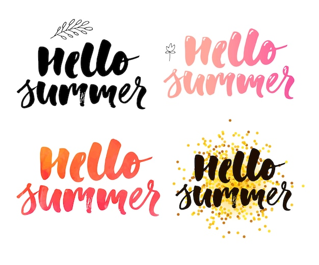 Illustration: brush lettering composition of summer vacation slogan hello summer set