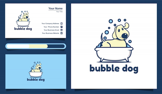 Illustration of bubble dog, wash dog logo template and business card design template.