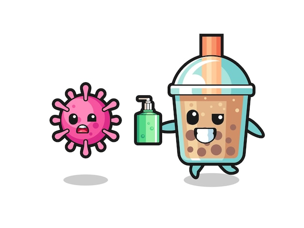 Illustration of bubble tea character chasing evil virus with hand sanitizer , cute style design for t shirt, sticker, logo element