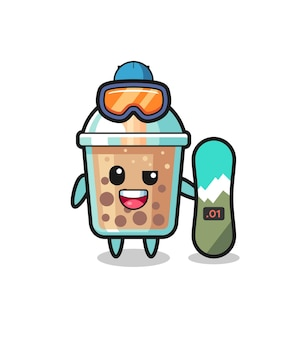 Illustration of bubble tea character with snowboarding style , cute style design for t shirt, sticker, logo element