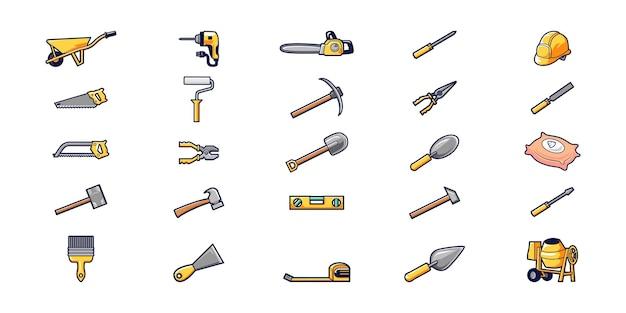 Illustration of builder equipment cartoon style vector design