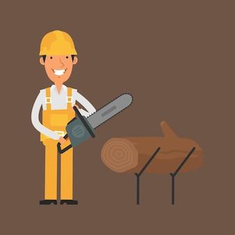 Иллюстрация, строитель держит бензопилу и улыбается, формат eps 10