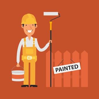 Иллюстрация, строитель, держащий валик и ведро с краской, формат eps 10
