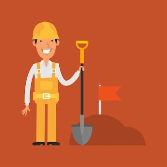 Иллюстрация, строитель держит лопату и улыбается, формат eps 10