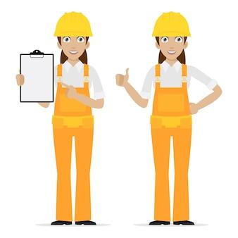 Женщина-строитель иллюстрации показывает палец вверх, формат eps 10
