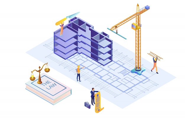 Illustration of building case based on law isometric flat.