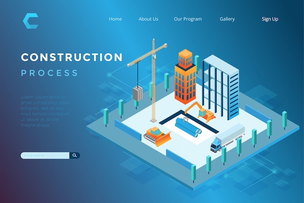 Illustration of building construction in isometric 3d style