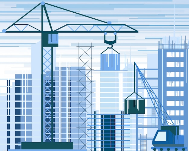 Illustration of buildings constructions site and cranes. skyscraper under construction. excavator, tipper at sky background in flat style.