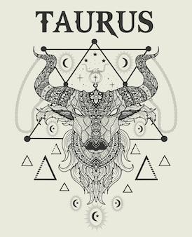 Иллюстрация голова быка телец символ
