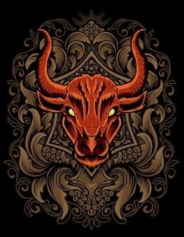 彫刻飾りとイラストの雄牛の頭