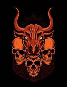 黒の背景に頭蓋骨の頭とイラストの雄牛の頭
