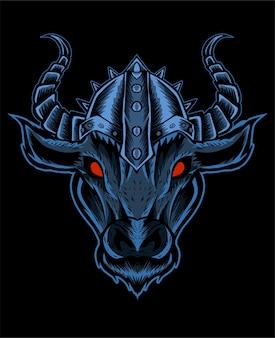Иллюстрация голова быка в шлеме викинга