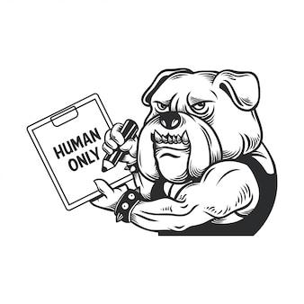 Illustration of bulldog with sign