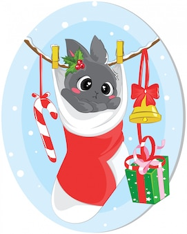 Illustration of bunny sleep in christmas sock for christmas day