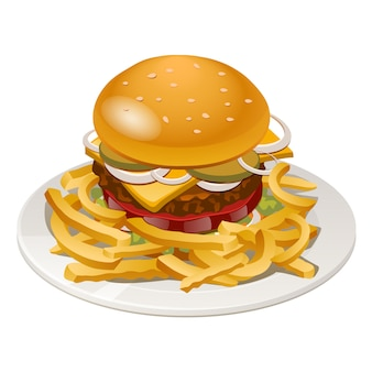Illustration of burger with fries, tomato, onion and cheese
