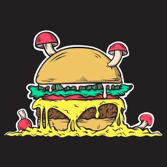 Illustration of burger with mushrooms