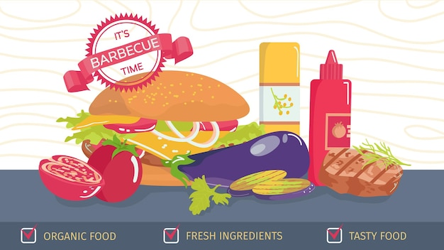 Illustration of burguer with ingredients