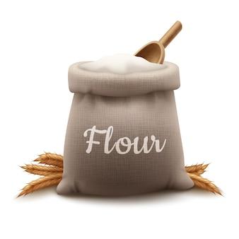 イラストシャベルと小麦の耳と小麦粉の黄麻布バッグ