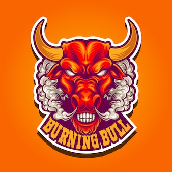 Illustration burning bull with smoke mascot logo
