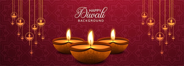 Illustration of burning diya on happy diwali banner