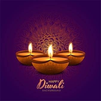 Illustration of burning diya on happy diwali holiday background