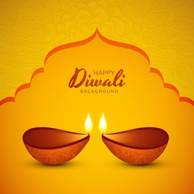 Illustration of burning diya on happy diwali holiday background