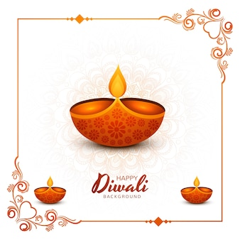 Illustrazione di bruciare diya su sfondo felice vacanza diwali