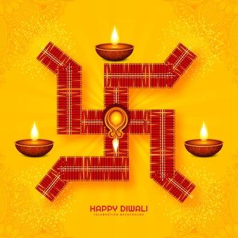 Illustration of burning diya on happy diwali holiday