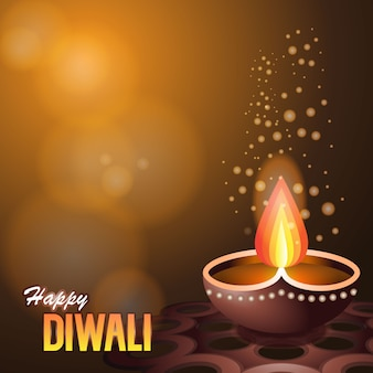 Illustration of burning diya, on happy diwali