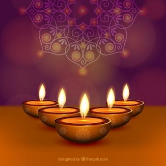 Illustration of burning diya