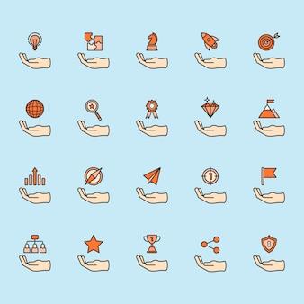 Illustration of business achievement icon set